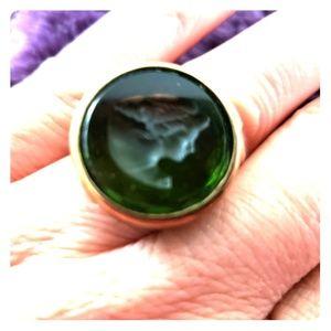Extasai Intaglio reen bronze stainglass green ring
